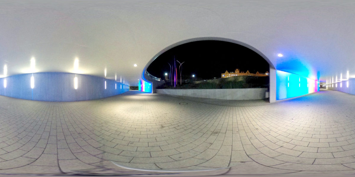 Roundabout underpass at Aesculap square in Tuttlingen by night
